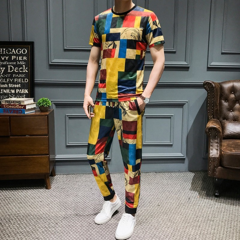 Creative Lattice Printing Men Set Causal T Shirt Men 2Pcs Tracksuit Summer Sportswear Pants Jogger Suit Slim Fit Set Harem Pants