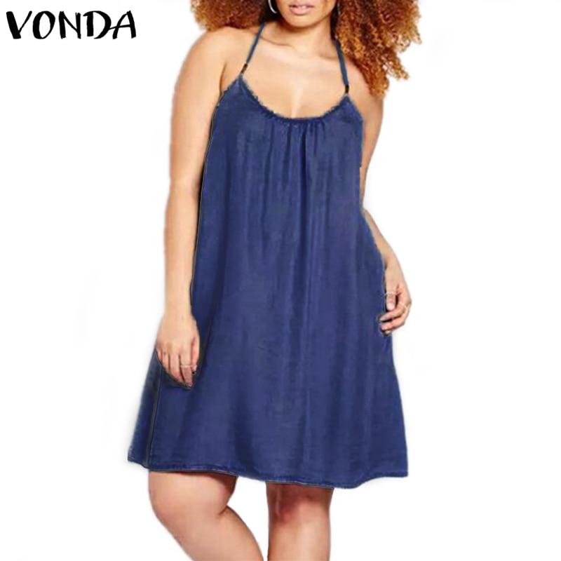 VONDA Women Sexy Mini A-line Dress 2018 Summer Casual Sleeveless Halter Neck Spaghetti Strap Backless Beach Vestidos Plus Size