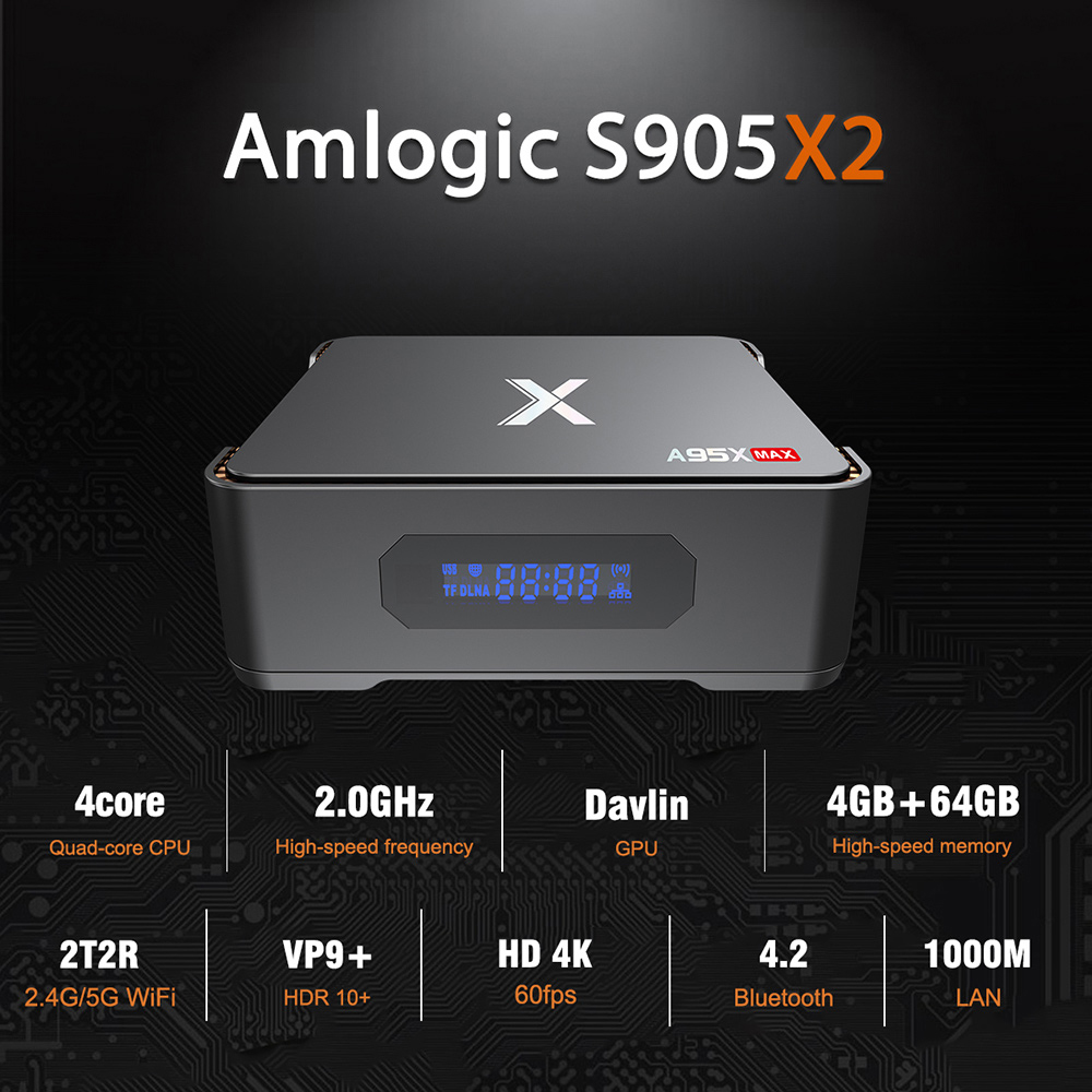 A95X Max TV Box Android 8.1 Amlogic S905X2 4GB 64GB 2.4G 5G WiFi 1000Mbps BT4.2 Support 4K H.265 Set TV Box Home TheaterA95X Max TV Box Android 8.1 Amlogic S905X2 4GB 64GB 2.4G 5G WiFi 1000Mbps BT4.2 Support 4K H.265 Set TV Box Home Theater