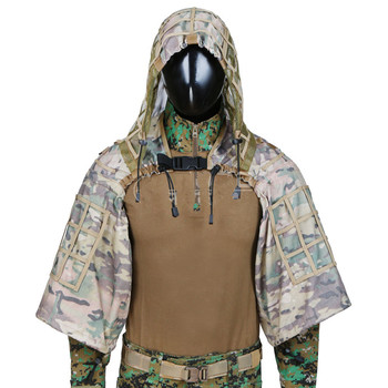 Camouflage Sniper Hunting Clothes Tactical Army Training Shooting CS Wargame Ghillie Suit Outdoor  DIY Ghillie Jacket With Yarn 5
