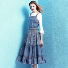 Nordic winds fashion retro dress female 2019 new spring and summer embroidery slim denim spaghetti strap NW19B6071