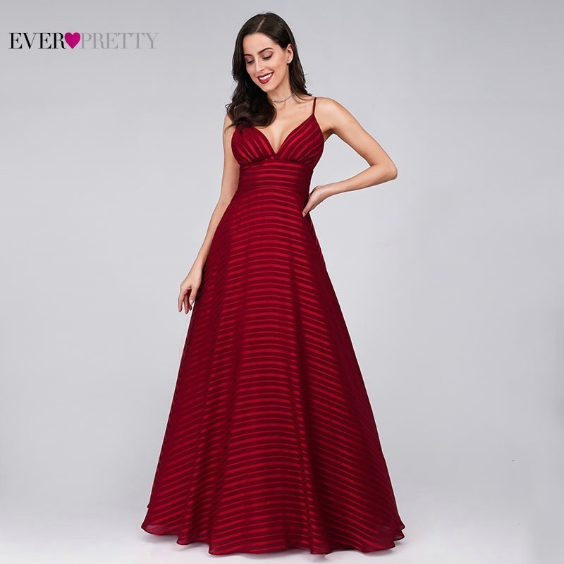 Striped Burgundy   Prom     Dresses   Long Ever Pretty A-Line V-Neck Sleeveless Spaghetti Strap Cheap Sexy Formal Party   Dresses   2019