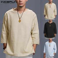 Camiseta INCERUN para Hombre, Camiseta holgada lisa de algodón con cuello en V y manga 3/4 para Hombre, camiseta informal Vintage, Camisetas de estilo chino para Hombre 5XL
