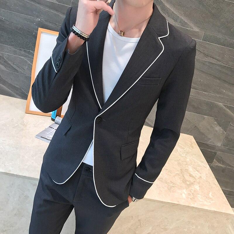 2019 Весна белый край Повседневное стройная фигура самосовершенствование человека мужской костюм, Блейзер черный Костюмы Топы + Штаны распро