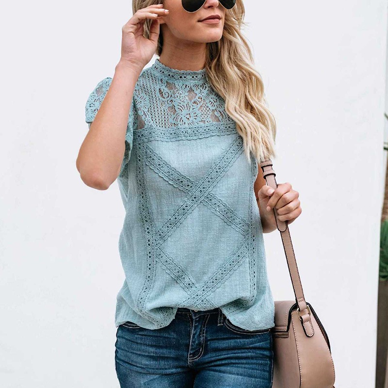 Women's Business Vintage   Shirt   Office Summer Boho Turtleneck Tops Casual   Blouse