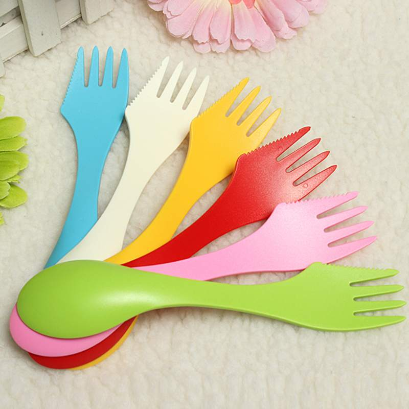 Spoon Fork Knife 3 In 1 Outdoor Travel Camping Home Hiking Lunchbox Utensils Spork Knife Fork Camping Picnic Tableware 6 Colors