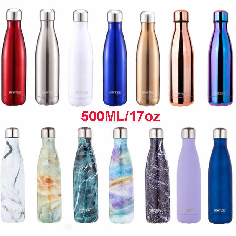 500ml Water Flask Thermos Stainless Steel Vacuum Flask Insulated Double Wall Drink Bottle Solid Color & Mix-color