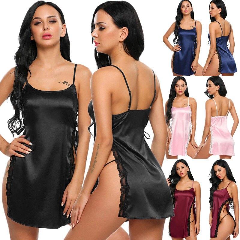 Women Sexy Satin Silk   Nightgown   Babydoll Lace Robes Sleep Sexy Dress Side Slit Sleepwear