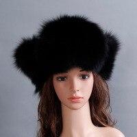 Winter Women Fox Fur Hat Genuine Fox Fur Hat Fur Hat Unisex Winter Earflap 100% Natural Fox Fur Hat Free Shipping