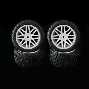 Image 3 - 4 stücke Felge & Gummi Reifen Reifen Für RC 1/10 Off Road Auto Buggy Ersatz