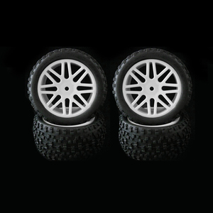 Image 3 - 4pcs Wheel Rim & Rubber Tyre Tires For RC 1/10 Off Road Car Buggy Replacement