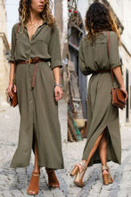 Summer Casual Dresses Womens Ladies Solid Long Sleeve Button Dress Loose High Waist