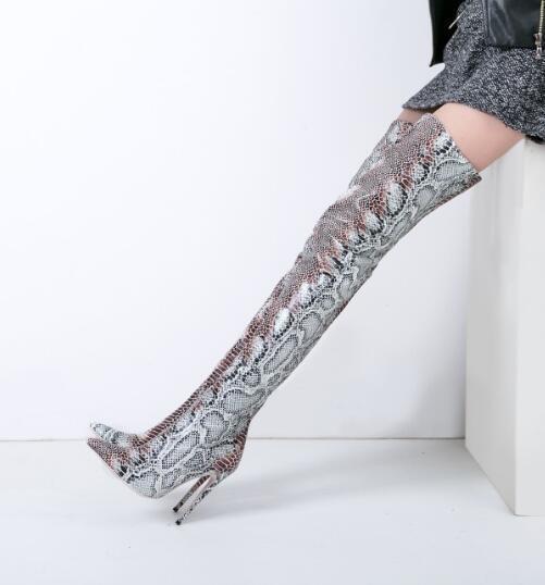 Bout Hauts Mince Talons 2018 Bottes Pointu Hautes Faire Dame 42 Le Imprimer Cuissardes Femmes Nouveau D'hiver Personnalisé Serpent Longues Sur 0qC4w5x