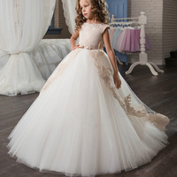 New Elegant Boat Neck Gold Lace Ball Gown Flower Girls Dresses Bow Sash Sweep Floor Girls First Communion Prom Dresses