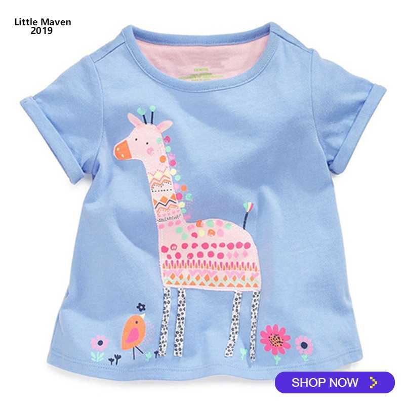 2019 Little Maven Brand Summer 2-7 year baby Kids Girl Girls Cute Giraffe Short sleeve  Top Quality Cotton t-shirts Tops shirt