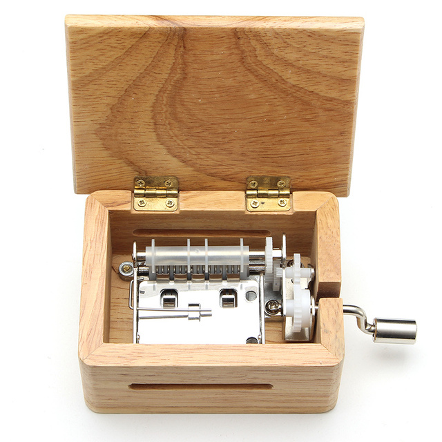 15 Tone DIY Hand-cranked Music Box Wooden Box With Hole Puncher And 10 pcs Paper Tapes Music Movements Box paper strip 1