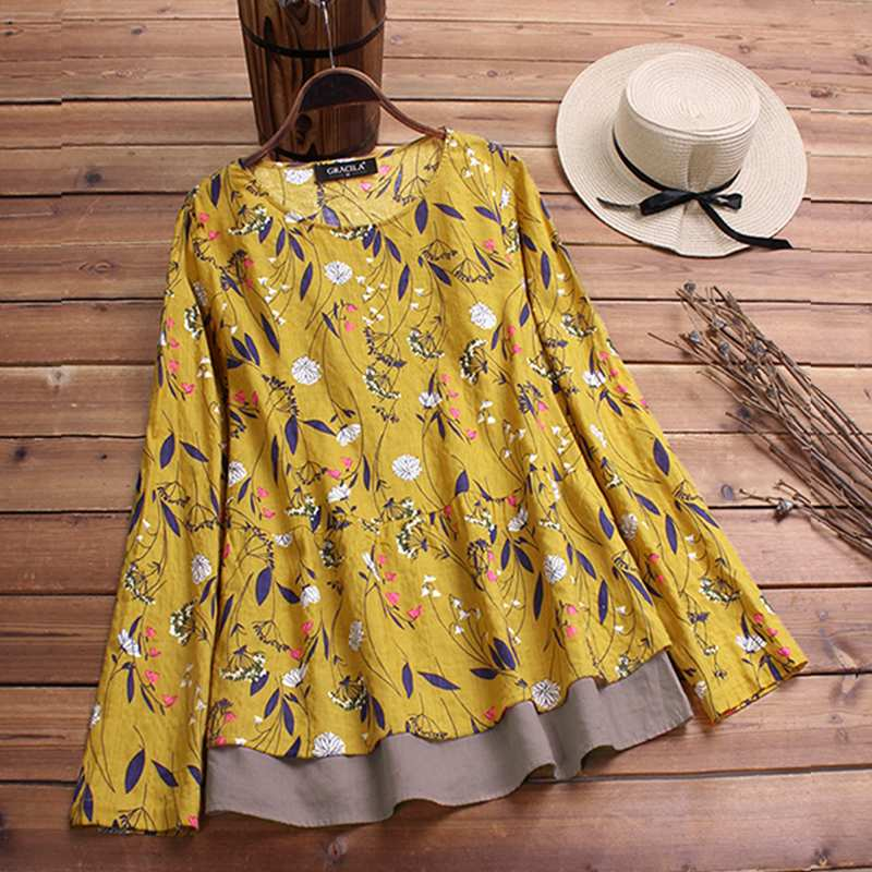 2019 Plus Size Spring Women Casual O Neck Long Sleeve Vintage Boho Floral Printed Patchwork Loose Party Blouse Shirt Vestido Top 2