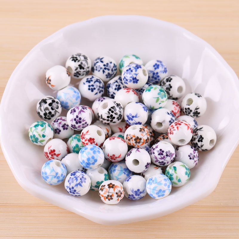 10pcs Small Flower Ceramic Beads Chinese Style Handmade Vintage Bead Material