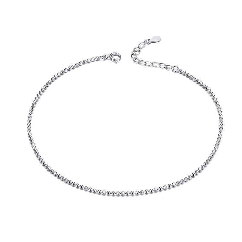 Heißer Verkauf Einfache Ätherisches Perle Link Fußkettchen 925 Sterling Silber Armband Für Fuß Schmuck Silber Weibliche Bein Kette Sct002 Bamoer Moderate Kosten Fußkettchen