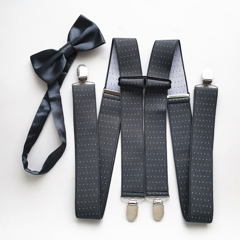 Dark Gray With Dot Men Suspender Butterfly Bow Tie Sets Safe Connect Clips Suspenders Bow Tie Set Adult Women Match Shirt LB066