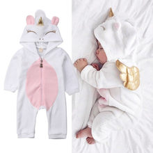 Toddler Newborn Unicorn Baby Girls Fleece Romper Jumpsuit Jumper Outfits Costume(China)