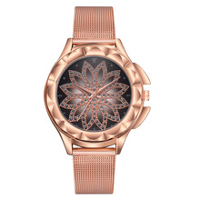 Women Rose Gold Lucky Flower Watches Women's Luxury Rhinestone Quartz Wrist Watch Ladies Watch Relogio Feminino Zegarek Damski olevs women watches watch men fashion luxury rhinestone dress couple watch quartz watchreloj mujer saat relogio zegarek damski