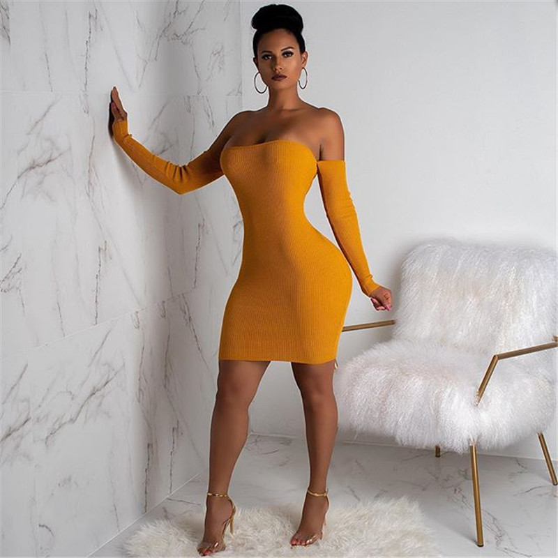 9467f3838e Detail Feedback Questions about Sexy Tube Top Back Hollow Out Bandage Dress  Nightclub Off Shoulder Long Sleeve Push Up Mini Bodycon Vetement Femme Ez   on ...
