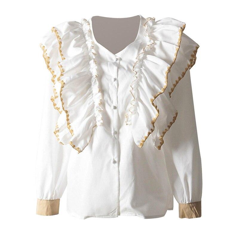 cou Chemise Printemps Femmes Femme V Casual Apricot Et Vêtements Couleur Tops Sauvage Solide Superaen Coton white Nouveau Europe Blouses 2019 S5qAv