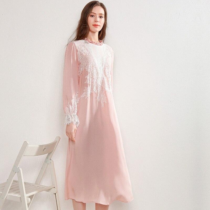 Long Nightgown Vintage Pink Long Sleeve  Night Dress  Sleepwear Casual Sleep Lounge Suit Home Clothing Women Viscose Nightdress
