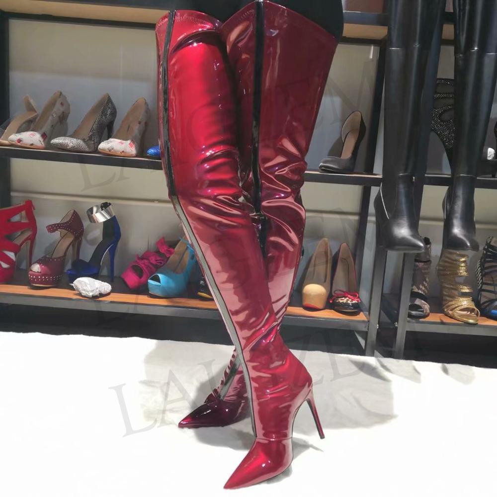 LAIGZEM أزياء المرأة الإفراط في الركبة الأحذية Waterpoof حزب نادي عالية الكعب بورجوندي الفخذ عالية الأحذية Botines موهير كبير حجم 34 47-في أحذية فوق الركبة من أحذية على  مجموعة 1