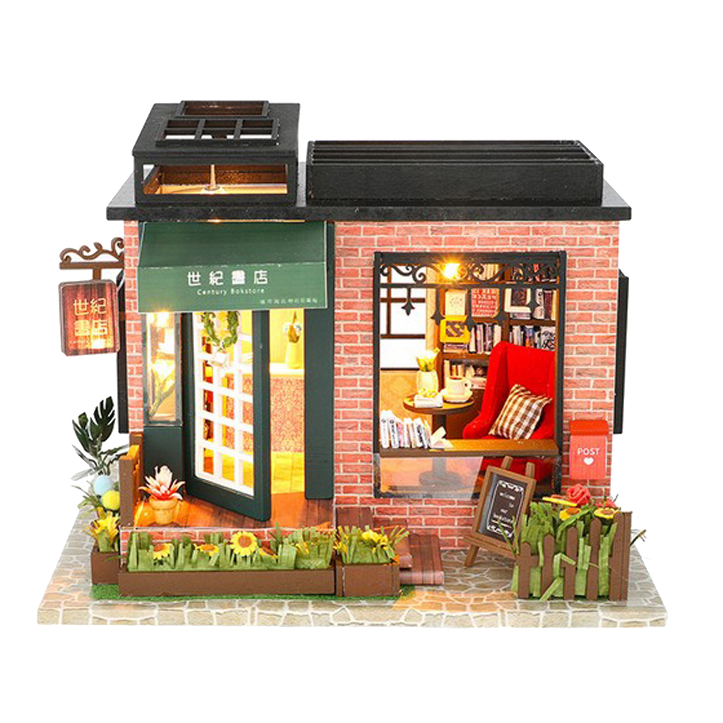 1/24 Dollhouse Miniatures Diorama DIY Accessories Kit Vintage Style Bookstore Bookshop House Kids Children Birthday Gift shelf