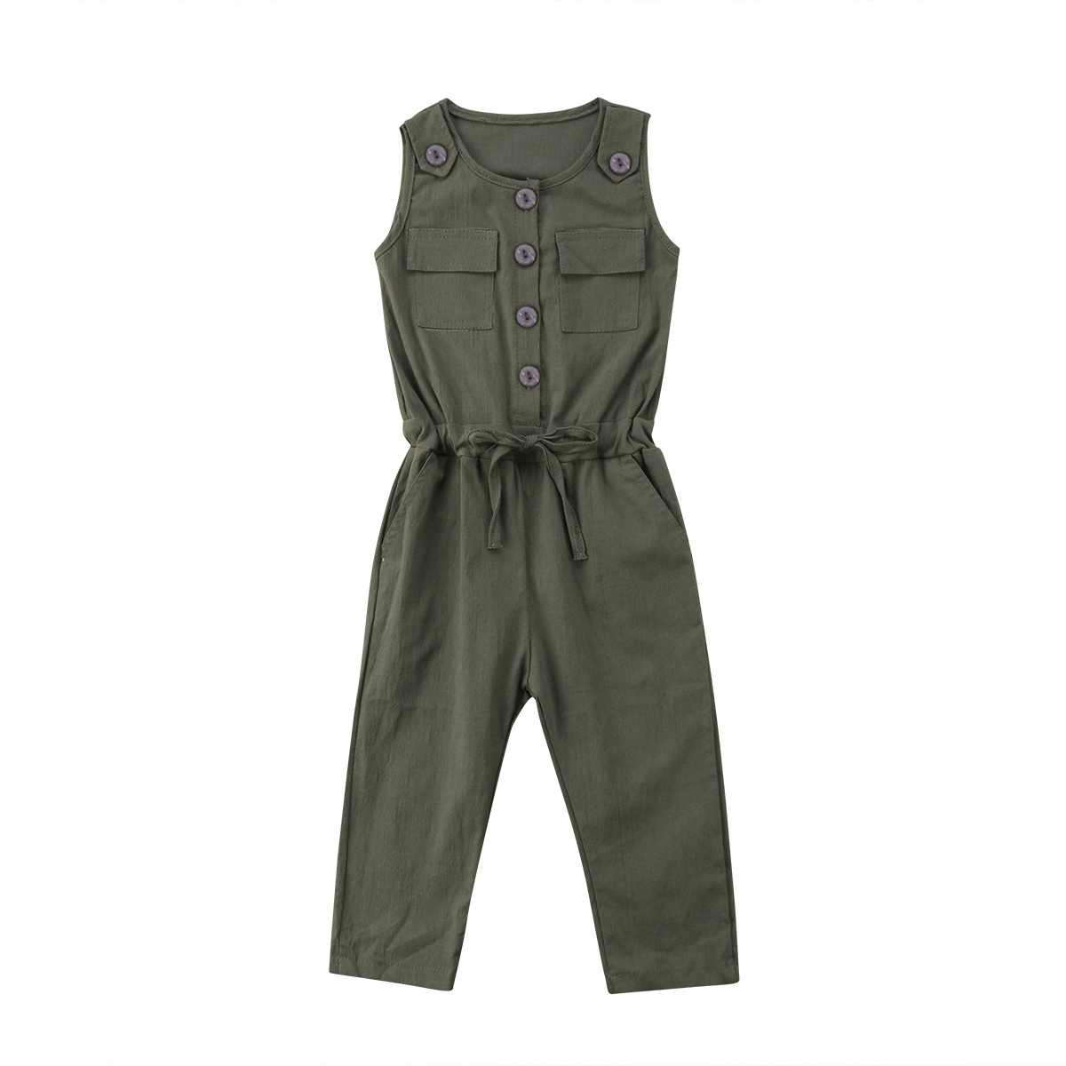 Toddler Baby Girl Sleeveless   Romper   Army Green Belt Solid Jumpsuit Outfit Sunsuit Fashion Clothes