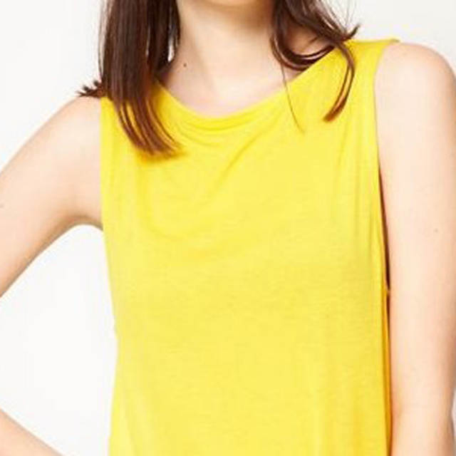 Women Round Neck T-shirts Tops Women Sleeveless T-shirt Hollow Out Loose  Tshirts Lemon Yellow Solid Summer Sexy TOP 2018 New
