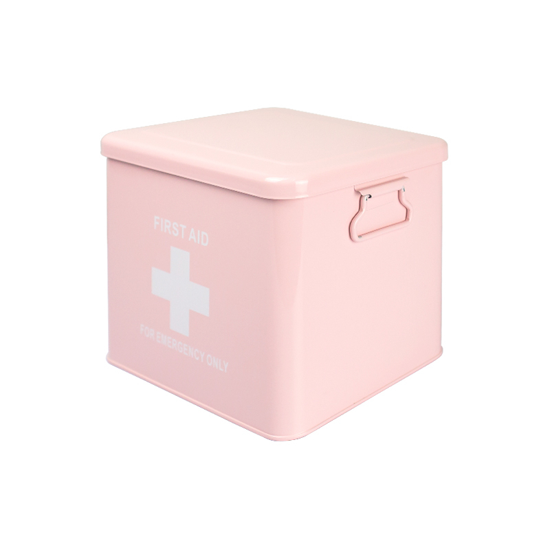 1pcs Medicine Box Storage Box Square Lovely Jar Iron Candy Box Tin Storage Snack Gift Durable Quality Thickness Pink