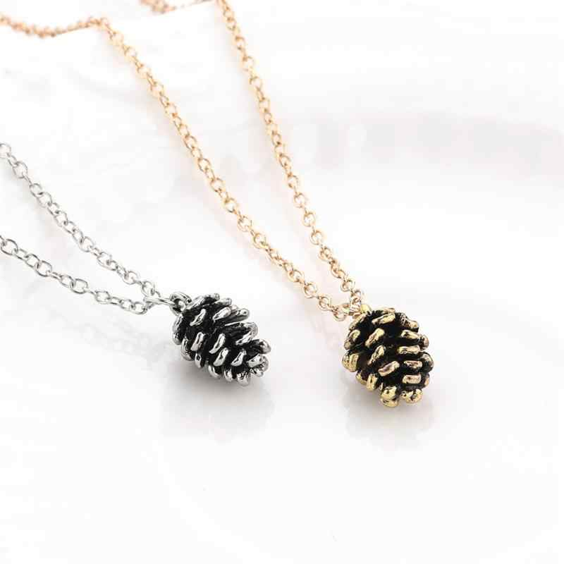 Autumn Mini Acorn Pine Cone Pendant Necklaces Christmas Sweater Chain Pinecone Jewelry Suspend Collar Collier Gift