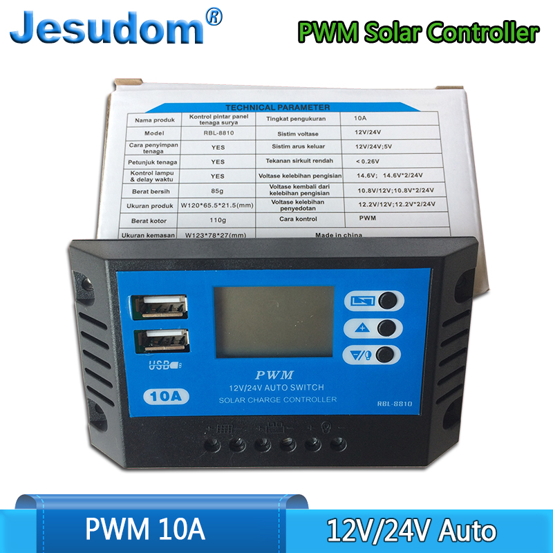 New Solar Charge Controller 10A PWM 12V 24V Auto LCD Solar Charger With Dual USB Output 10A Solar PV Regulator For PV System