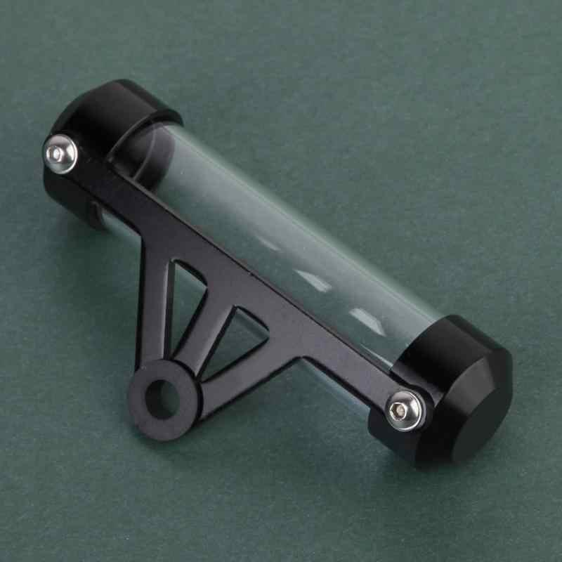 Hitam Tahan Air Aluminium dan Akrilik Sepeda Motor Sepeda Motor Tabung Pajak Disc Silinder Holder Frame Moto Nyata Aksesoris