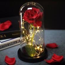 Artificielle beauté et bête Rose fleur en verre dôme ceinture lampe à LED décoration de noël pour saint valentin nouvel an cadeau
