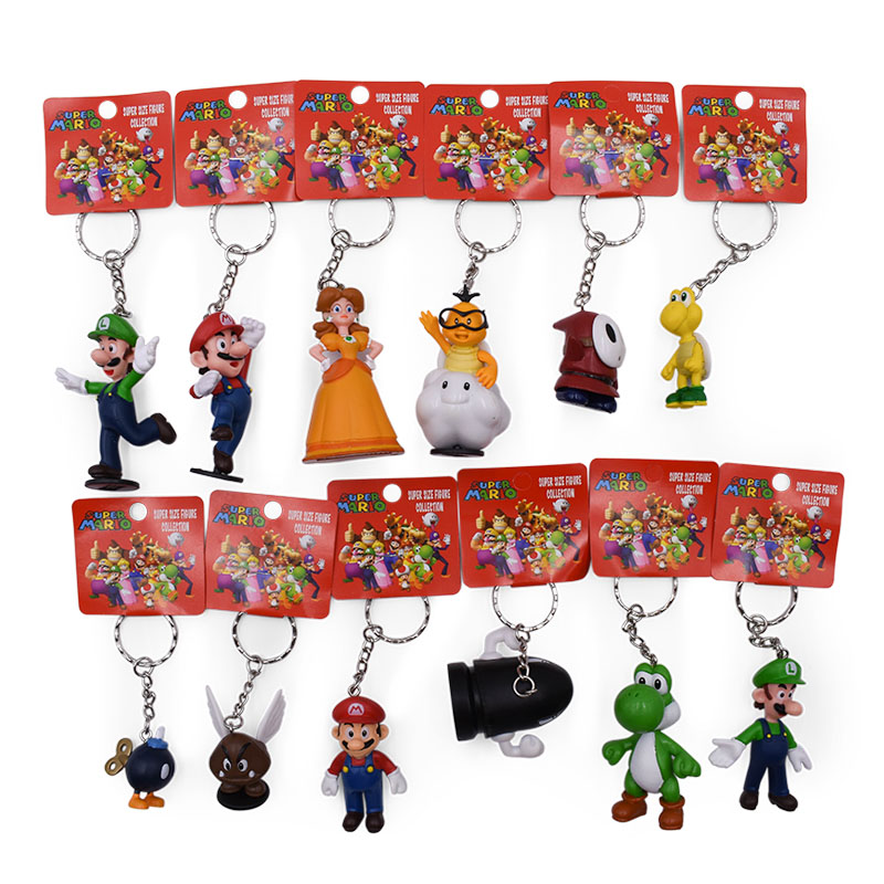 12 Pcs/lot Anime Super Mario Bros Keychain Peach Donkey Kong Yoshi Luigi Toad PVC Action Figure Doll Collectible Model Toy