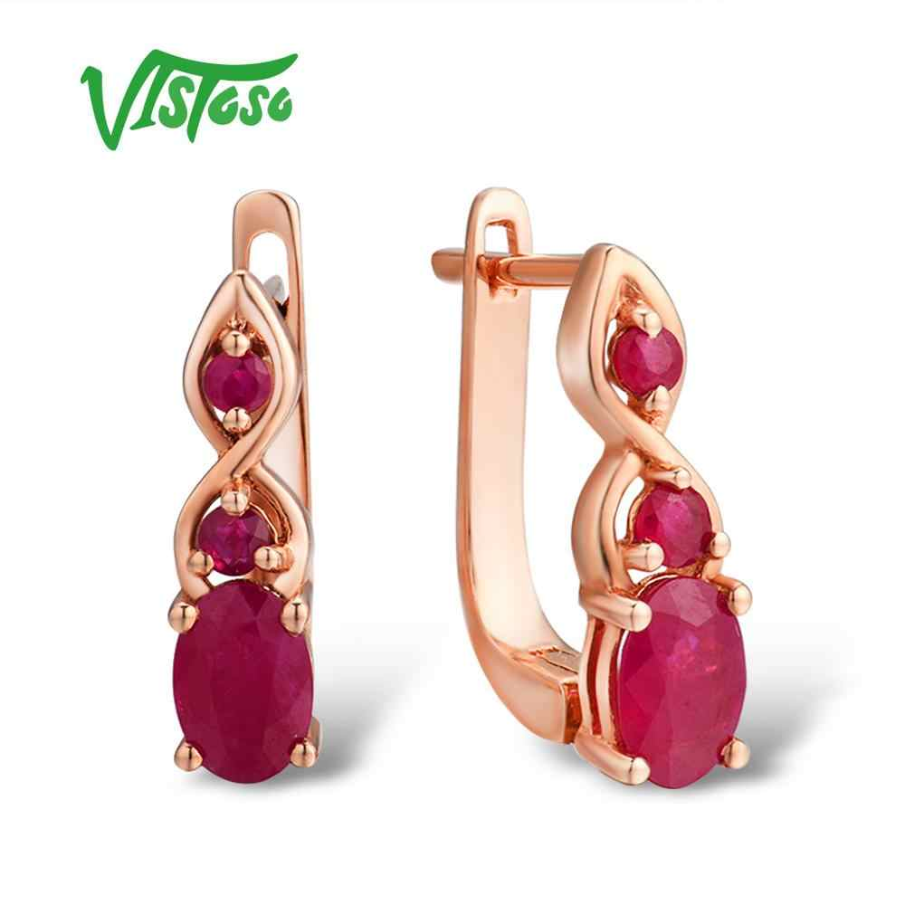 VISTOSO Gold Earrings For Women Authentic 14K 585 Rose Gold Shimmering Red Ruby Wedding Band Engagement Anniversary Fine Jewelry