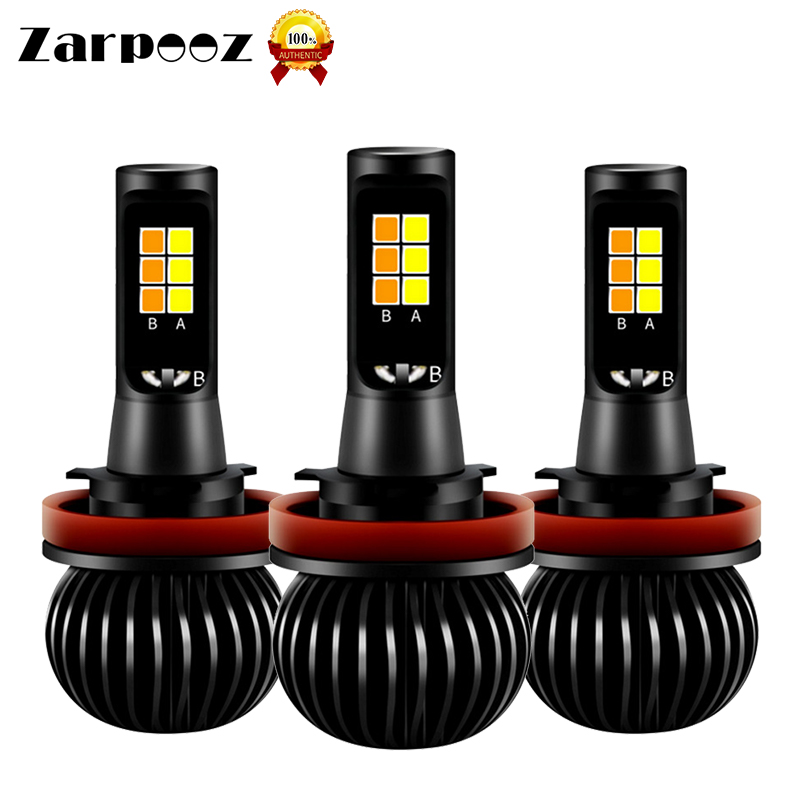 Zarpooz X5 Universal Auto Fog Light Bule Yellow Two Colors H1 H3 H4 H7 H8 H10