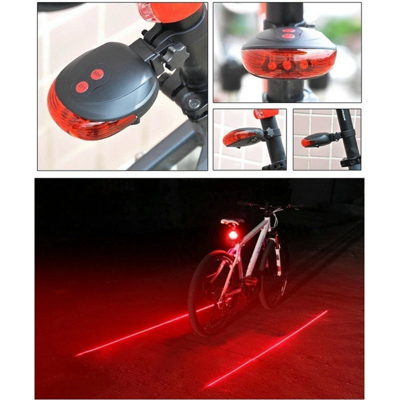 Bike Cycling Bicycle Lighting Accessories 5 LED Rear Lamp Red Light Tailight US