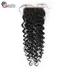 Beautiful Queen 10A Peruvian Virgin Hair 4x4 Deep Wave TRANSPARENT Lace Closure With Per Plucked Swiss Lace Baby Hair For Women(China)