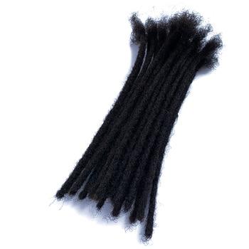 Extensiones de pelo YONNA de trenzas de pelo humano, microcerraduras, extensiones de pelo de Rastas, 20Locs completamente hecho a mano, natural negro # 1B (0,4 cm de ancho)