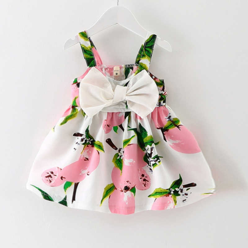 2018 新夏ドレスベビーファッション綿 100% かわいいスリング小さなストライプ弓 tシャツ女性ベビードレス