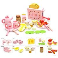 Complete Set Of Wooden Bread Machine Kitchen Toys With Cute Dishes And Spoons Tea Set Milk And Fruits Model For Children