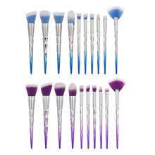 10pcs Pro 3D Diamond Soft Hair Makeup Brushes Eyebrow Eye Shadow Loose Powder Foundation Set Kit Cosmetic Tool
