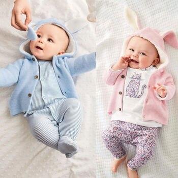 d9d7ad553 Pudcoco recién nacido Niño niños bebé Niñas Ropa de niño de punto con  capucha 3D oído suéter abrigo ropa de bebé de invierno conjunto