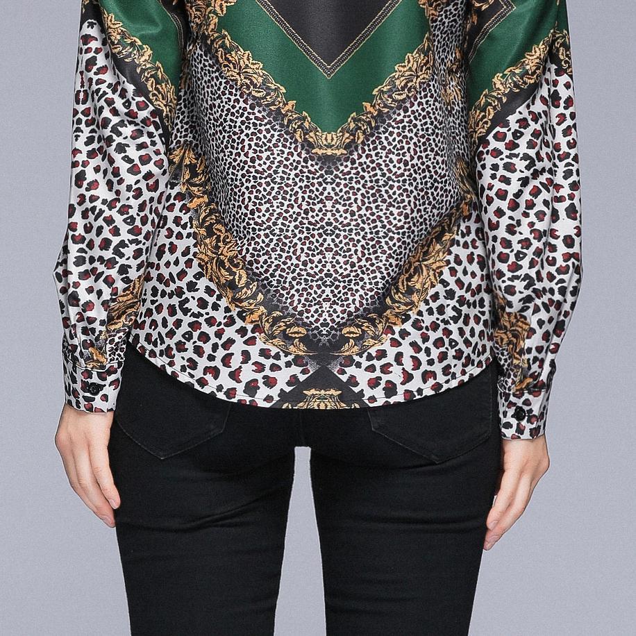 leopard paldi green quality spring Runway woman 2019 long Sleeve Blouse Shirt runway designer OL elegant in Blouses amp Shirts from Women 39 s Clothing