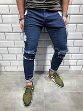 76cdef3abe4 Slim Thin Skinny Spring Hole Ripped Jeans 2019 Casual Men's Fashion Jeans  for Men Long Pencil Pants Trousers Clothes Clothing